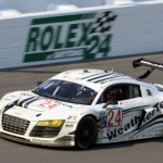 The Alex Job Racing WeatherTech Audi rockets down the front stretch en route to victory Sunday in the GT category of the Rolex 24. (Grand-Am Photo)