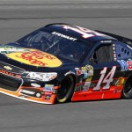 Tony Stewart showed off new sponsor Bass Pro Shops during the NASCAR Sprint Cup Series test session at Charlotte Motor Speedway. (HHP/Harold Hinson Photo)