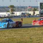 The Chip Ganassi Racing Daytona Prototypes lead the pack early during the 51st Rolex 24 at Daytona Int'l Speedway on Saturday. (ACM/Al Munger Photo)