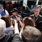 Jeff Gordon talks to members of the media after being involved in a multi-car crash during NASCAR Sprint Cup Series testing at Daytona Int'l Speedway Friday. (NASCAR Photo)