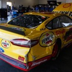 Joey Logano's No. 22 Penske Racing Ford sits in the garage at Daytona Int'l Speedway after being involved in a crash Friday during Preseason Thunder testing. (NASCAR Photo)