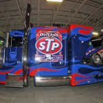 The World of Outlaws STP Sprint Car Series had its specially designed hauler on hand at Motorsports Show 2013. (Harry Cella Photo)