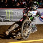 Billy Hamill slides through a corner during the Monster Energy World Speedway Invitational Saturday night at The Grand Arena in City of Industry, Calif. (Simon Cudby Photo)