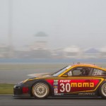 The MOMO Racing Porsche blasts through thick fog early in the morning Sunday at Daytona Int'l Speedway. (Photo Courtesy MOMO Racing)