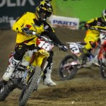 Davi Millsaps (18) battles Chad Reed at Angel Stadium in Anaheim, Calif., earlier this season. (Feld Entertainment photo)