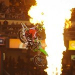 Ryan Villopoto, shown winning round three of the Monster Energy Supercross season at Angel Stadium, backed up that victory Saturday night in Oakland with a second consecutive triumph. (Feld Entertainment photo)