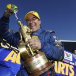 Ron Capps celebrates after his first NHRA Funny Car victory of the 2013 season at Firebird Int'l Raceway in Chandler, Ariz. (NHRA Photo)