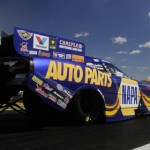 Ron Capps lines up at the starting line at Firebird Int'l Raceway in Chandler, Ariz., on Sunday. (NHRA Photo)