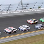 Jimmie Johnson (48) leads the field on the final lap of the Daytona 500. (HHP/Alan Marler Photo)