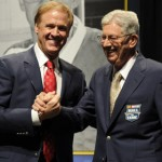2013 NASCAR Hall of Fame Inductees Rusty Wallace (left) and Leonard Wood during the induction ceremony Friday in Charlotte, N.C. (NASCAR Photo)