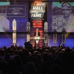 Carl Edwards addresses the crowd prior to the induction of Herb Thomas into the NASCAR Hall of Fame Friday in Charlotte, N.C. (NASCAR Photo)