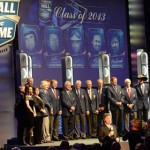 NASCAR Hall of Fame members and family members of inductees pose on stage during the 2013 NASCAR Hall of Fame Induction Ceremony Friday in Charlotte, N.C. (NASCAR Photo)