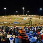 Fans watch Lucas Oil Late Model Dirt Series action at East Bay Raceway Park Friday evening. (Rick Schwallie Photo)
