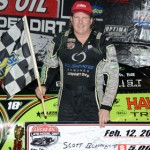 Scott Bloomquist in victory lane at East Bay Raceway Park Tuesday evening. (Al Steinberg Photo)