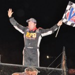 Terry McCarl celebrates after winning Saturday's World of Outlaws STP Sprint Car Series feature at Volusia Speedway Park in Barberville, Fla. (Paul Gretzinger Photo)