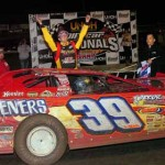 Tim McCreadie celebrates after winning a UMP Late Model feature at Volusia Speedway Park last month. (Hein Brothers Photo)