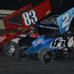 Tim Shaffer (83) and Dale Blaney, shown here at Florida's Bubba Raceway Park in February, are two likely candidates to claim the 2013 UNOH All Star Circuit of Champions sprint-car crown. (Al Steinberg Photo)