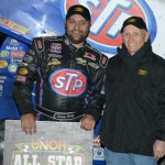 Donny Schatz stands in victory lane after winning his second-straight UNOH All Star Circuit of Champions feature Saturday night at Bubba Raceway Park in Ocala, Fla. (Al Steinberg Photo)