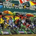 Riders await the start of the Monster Energy Supercross final at Anaheim, Calif. (Feld photo)