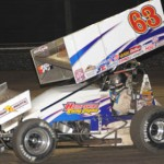 Chad Kemenah ran near the front of Sunday's World of Outlaws STP Sprint Car Series event Sunday at Volusia Speedway Park in Florida. (Julia Johnson Photo)