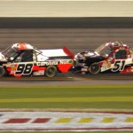 Johnny Sauter (98) leads Kyle Busch on the last lap of Friday's NASCAR Camping World Truck Series race at Daytona Int'l Speedway. (Dick Ayers Photo)