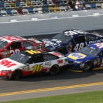 Greg Biffle (16), Kevin Harvick (29), Martin Truex Jr. (56) and Jimmie Johnson (48) during a late-race restart in the first Budweiser Duel at Daytona Int'l Speedway Thursday. (Dick Ayers Photo)