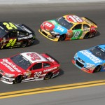 Ryan Newman (39), Jeff Gordon (24), Kasey Kahne (5) and Kyle Busch during the second Budweiser Duel at Daytona Int'l Speedway on Thursday. (Dick Ayers Photo)
