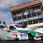 John Force smokes the tires during the NHRA Arizona Nationals Sunday afternoon at Firebird Int'l Raceway in Chandler, Ariz. (Ron Lewis Photography Photo)