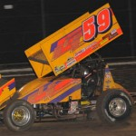 Jac Haudenschild was having a good run during Sunday's World of Outlaws STP Sprint Car Series feature until going for a late-race flip at Volusia Speedway Park. (Julia Johnson Photo)