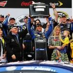 Jimmie Johnson celebrates in victory lane after winning Sunday's Daytona 500. (NASCAR Photo)