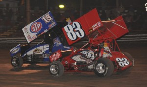 Donny Schatz (15) and Tim Shaffer battle for position in last season's event at Volusia Speedway Park in Barberville, Fla. (Julia Johnson Photo)