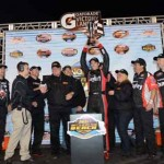 Cameron Hayley celebrates in victory lane at Daytona Int'l Speedway after winning the NASCAR K&N Pro Series feature as part of the UNOH Battle at the Beach Tuesday. (NASCAR Photo)
