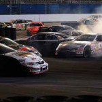 Ben Kennedy (96) and several other cars spin during the NASCAR K&N Pro Series portion of the UNOH Battle at the Beach Tuesday in Daytona Beach, Fla. (NASCAR Photo)