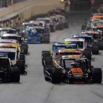 Todd Szegedy (right) and Eric Goodale (left) lead the field during the NASCAR Whelen Modified feature Tuesday night during the UNOH Battle at the Beach at Daytona Int'l Speedway. (NASCAR Photo)