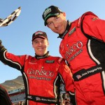 Jon Fogarty (right) and Alex Gurney celebrate after winning a  Grand-Am Rolex Sports Car Series event at Circuit of the Americas in Austin, Texas. (Grand-Am Photo)