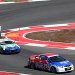 A pack of cars battle for position during Saturday's Continental Tire Sports Car Challenge Series race at Circuit of the Americas in Austin, Texas. (Grand-Am Photo)