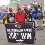 Johnny Gray (left) and Antron Brown (right) helped Don Schumacher Racing earn its 200th NHRA victory Sunday in Gainesville, Fla. (NHRA Photo)