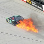 The No. 80 of Blake Jones goes up in flames after an engine failure Saturday during the NASCAR K&N Pro Series East race at Bristol (Tenn.) Motor Speedway. (HHP/Tim Parks Photo)