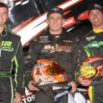 Race winner Ryan Litt (center) is flanked by second-place Jacob Wilson (left) and third-place Troy DeCaire after Friday's TRUFUEL Must See Racing Xtreme Sprint Series race at Five Flags Speedway. (Max Dolder Photo)