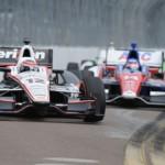 Will Power (12) leads Takuma Sato during Sunday's IZOD IndyCar Series Honda Grand Prix of St. Petersburg in Florida. (Al Steinberg Photo)