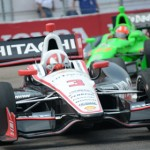Helio Castroneves (3) leads eventual race winner James Hinchcliffe Sunday on the streets of St. Petersburg, Fla. (Al Steinberg Photo)