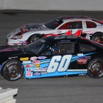 RA Brown (60) and Bobby Measmer Jr. battle for position Saturday at Dillon (S.C.) Motor Speedway. (Chris Owens Photo)