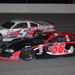 Gus Dean (56) battles Bobby Gower at Dillon (S.C.) Motor Speedway during PASS South competition. (Chris Owens Photo)