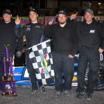 Austin Theriault and his crew stands in victory lane at Dillon (S.C.) Motor Speedway Saturday. (Chris Owens Photo)