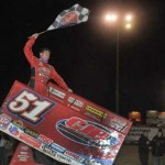 Paul McMahan celebrates in victory lane after winning the Mini Gold Cup at Silver Dollar Speedway in Chico, Calif., Saturday. (Tom Parker Photo)