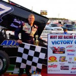 JoJo Helberg poses in victory lane at Mobile Int'l Speedway after Sunday's TRUFUEL Must See Racing Xtreme Sprint Series race. (Chris Seelman Photo)