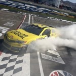 Matt Kenseth performs a burnout after winning the Kobalt Tools 400 at Las Vegas Motor Speedway on Sunday. (NASCAR Photo)