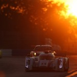 The Audi No. 1 shared by Benoit Treluyer, Oliver Jarvis and Marcel Fassler races into the sunset en route to victory during Saturday's Mobil 1 12 Hours of Sebring in Florida. (Ted Rossino Jr. Photo)