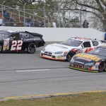 Anderson Bowen (22), Nick Turner (40) and Tom Hessert battle for position Saturday during ARCA Racing Series competition at Mobile Int'l Speedway in Irvington, Ala. (ARCA Racing Series Photo)