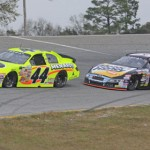 Frank Kimmel (44) battles Grant Enfinger during the ARCA event at Mobile Int'l Speedway in Irvington, Ala., in March. Kimmel currently leads the ARCA standings. (ARCA Racing Series Photo)